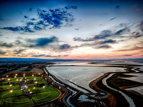 california usa landscape sunset sanfranciscobay water outdoors sky aerial dusk sport clouds sunnyvale unitedstates us