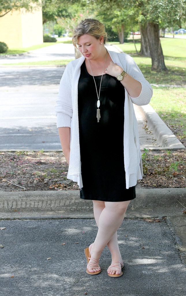 black maternity dress, cream open weave cardigan 6