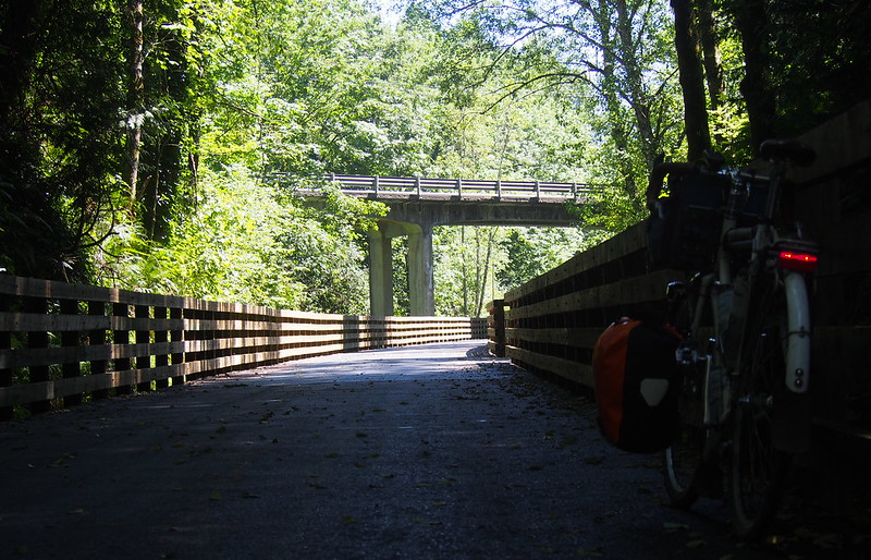 Approaching the SR-162 Bridge: I remember walking along this when it was a narrow dirt path, but now it's a trestle!