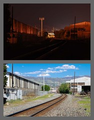 Railroad at night and day