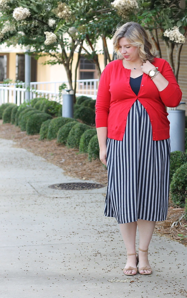 maternity blue stripe dress and red cardigan 3