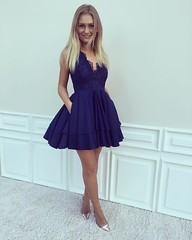 A-Line V-Neck Dark Blue Satin Short Homecoming Dress with Lace Beading
