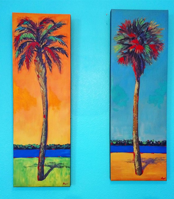 Scored these two palm tree paintings at an estate sale for 7$! They go perfectly in our Hawaiian-themed kitchen.