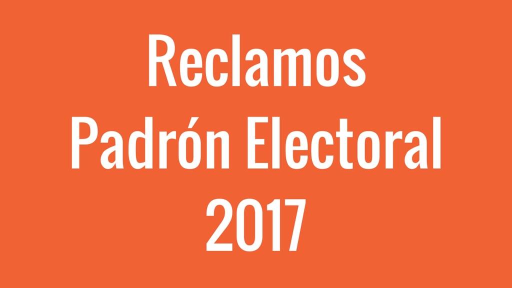 Reclamos al Padrón Electoral