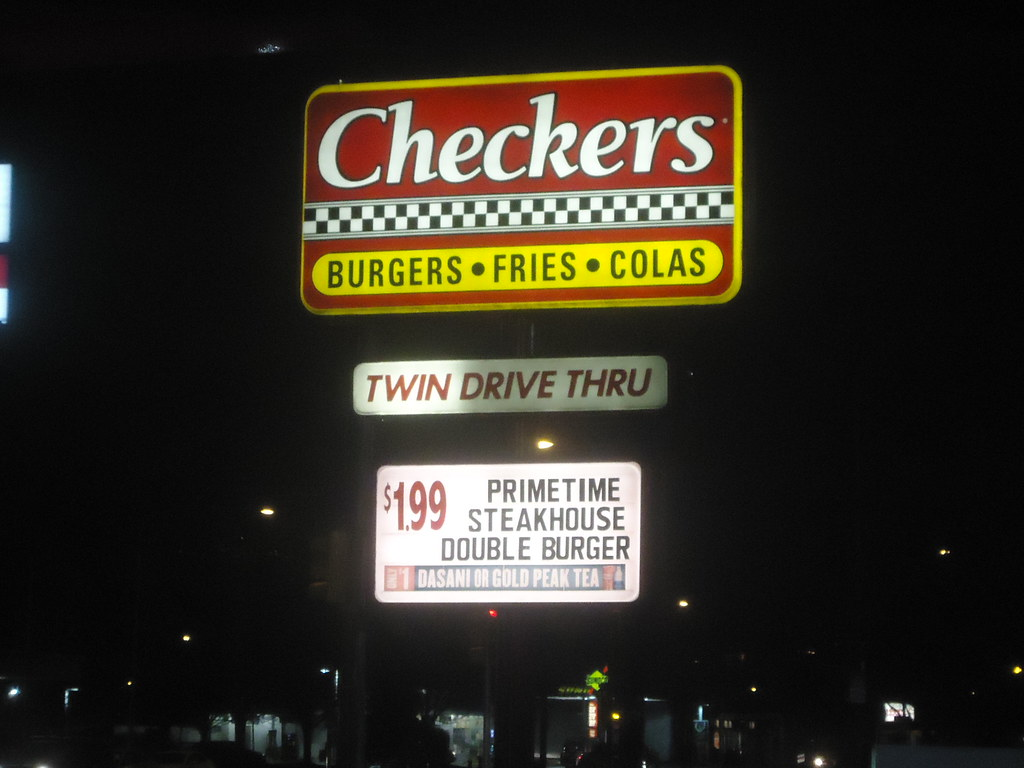 Checkers road sign