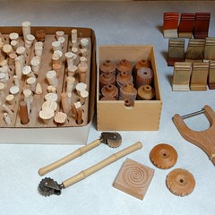 #toolsofthetrade #handmade #claystamps #ceramicstamps #potterystamps #repurposed #carved #woodcasters #woodstamps #pottery #camanoislandstudiotour #potterystudio