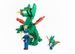 LEGO Dragon Sculpture with Majisto Wizard