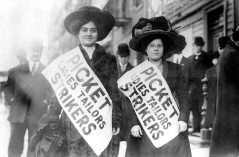 Two women strikers on picket line during the Uprising of the 20,000 garment workers strike, New York City, 1910