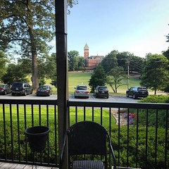 Not a bad view from @b_forehand's new apartment @clemsonuniversity & a convenient commute. #Clemson #tillmanhall