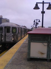 The R62A 6 train arriving t the Parkchester