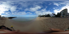 View from near the pier or groin between the Fort DeRussy Beach and Gray's Beach in Waikiki - a 360° Equirectangular VR (Theta S)