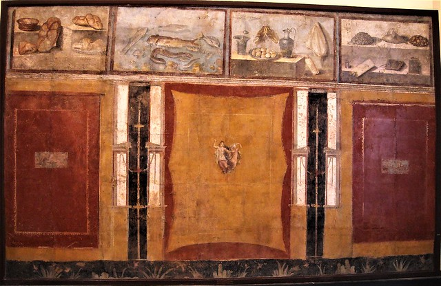 Wall painted from Pompeii with four still-lifes, from the house of Julia Felix (before 79 AD) - Naples Archaeological Museum
