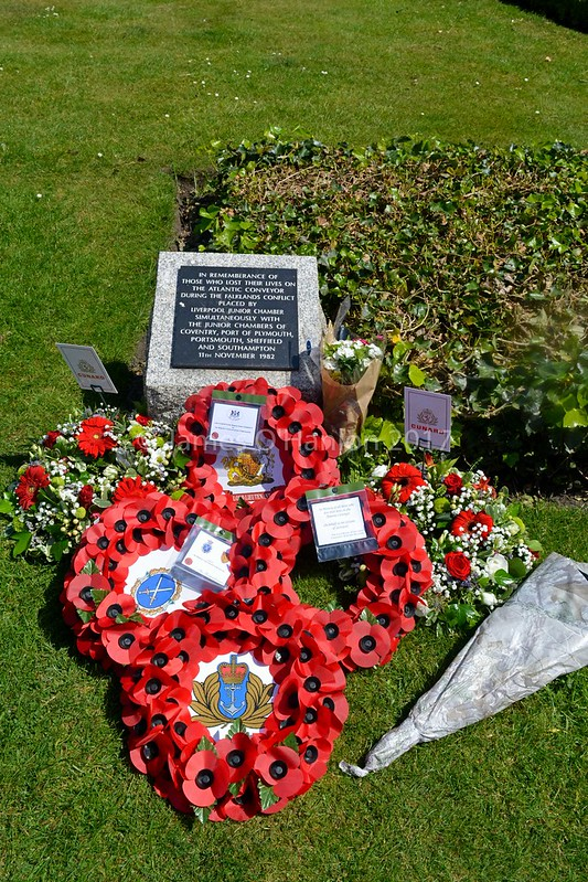 Floral tributes and the plaque