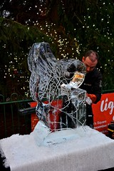 York Ice Sculpture Demonstration, from a block of ice to finished sculpture take about 2 hours, By Glacial Art