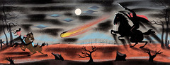 Headless Horseman and Ichabod Crane concept art by Mary Blair from The Adventures of Ichabod and Mr. Toad (1949)