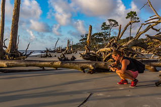 Photographer at Driftwood Beach Jekyll Island