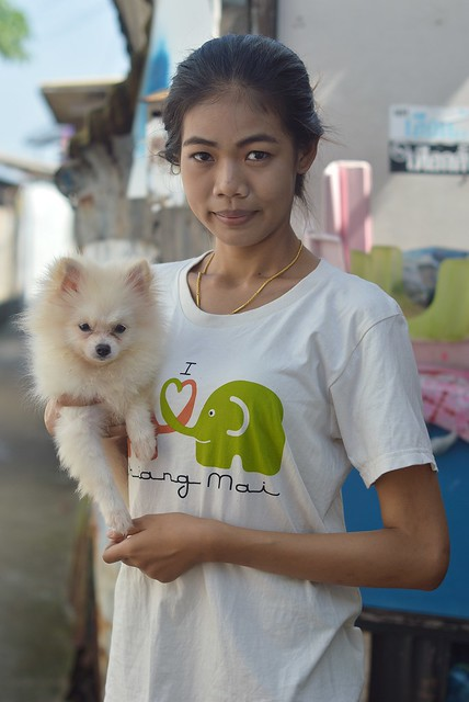 pretty young woman with cute dog