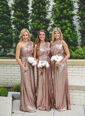 A-Line One-Shoulder Floor-Length Pink Sequined Bridesmaid Dress