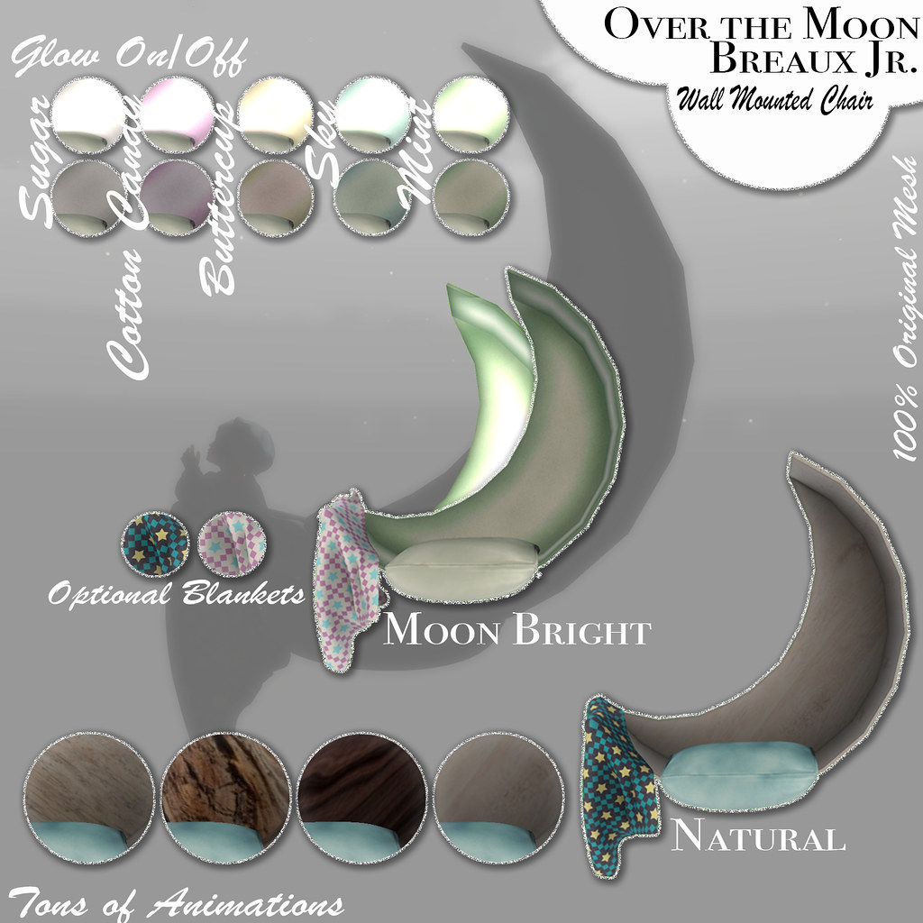 Over the Moon Mounted Chairs - SecondLifeHub.com