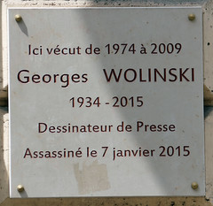 Photo of Georges Wolinski marble plaque