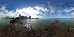 View from the Pier or Groin between Fort DeRussy Beach and Gray's Beach in Waikiki - a 360° Equirectangular VR (Theta S)