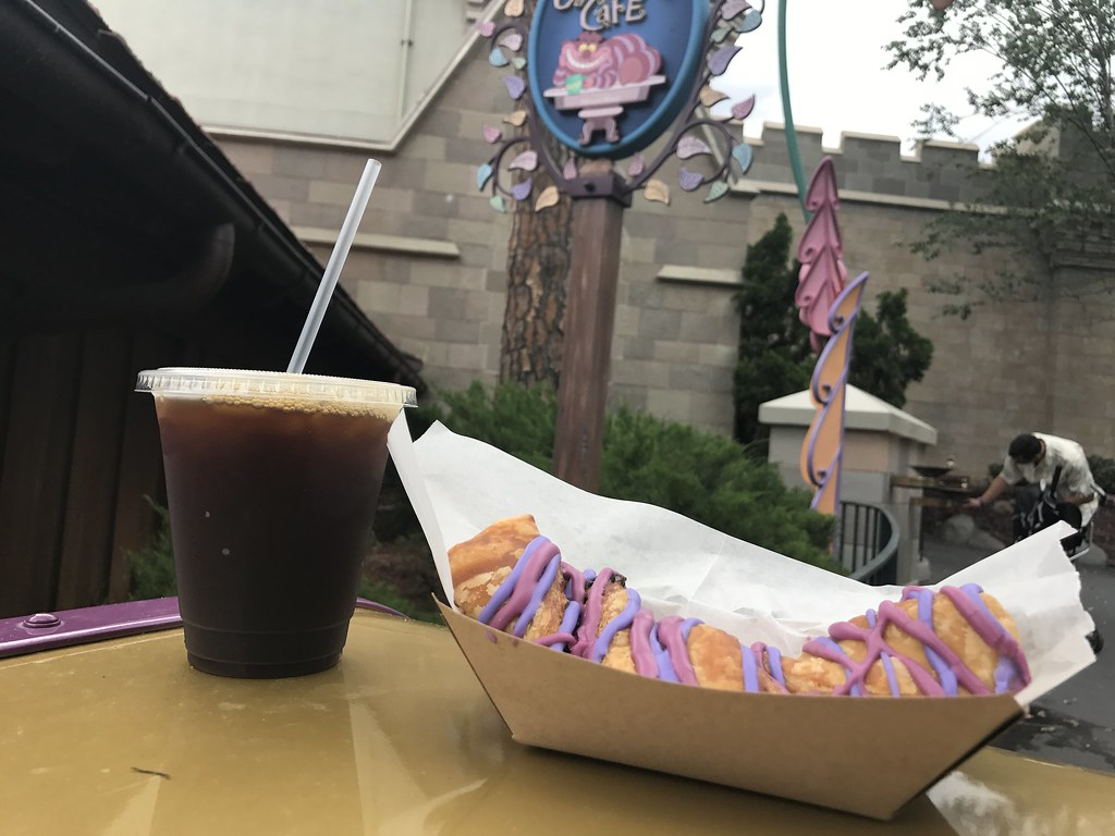Cold Brew Coffee and Cheshire Cat Tails, new at the Cheshire Cafe in the Magic Kingdom