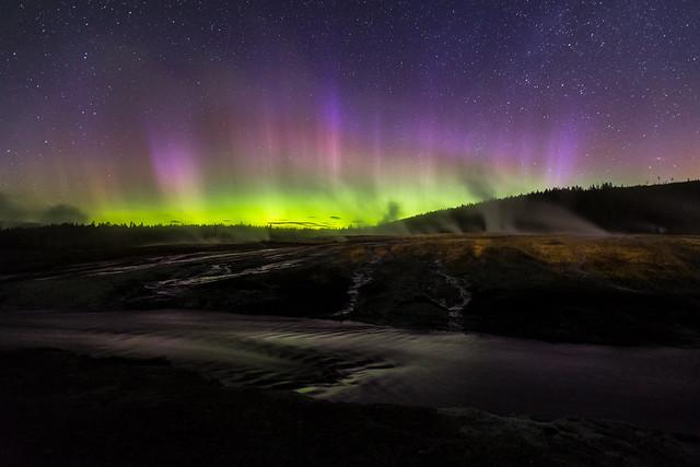 Aurora borealis, Upper Geyser Basin