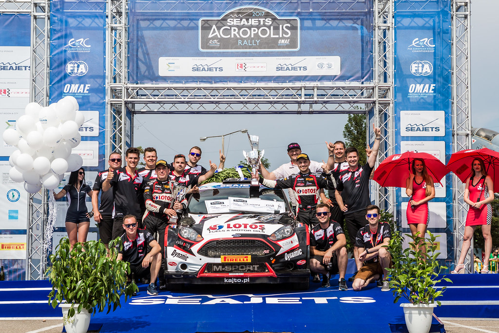 KAJETANOWICZ Kajetan (pol) and BARAN Jaroslaw (pol) podium ambiance during the European Rally Championship 2017 - Acropolis Rally Of Grece - From June 2 to 4 - Photo Thomas Fenetre / DPPI