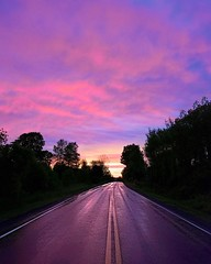Sunset #sunset #sunsetroad #purple #purplesunset #clouds #purpleclouds #road #evening #summer #summersunset #summerevening #ny #morley