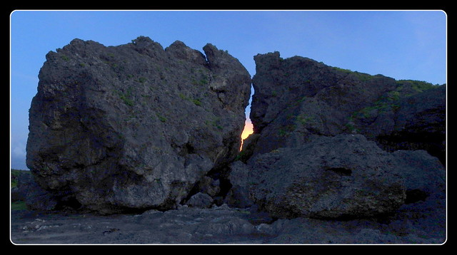 THE FIERY FISSURE BETWEEN HOUSE-SIZE BOULDERS at MERMAID'S GROTTO