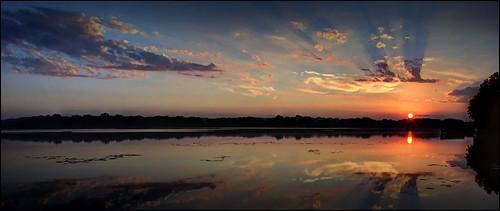 morning sunshine sunrise sunset sky sun am water wideangle elements13 reflections photomatix landscape lakemarionmn lakeville lake nikon hdr golden d7100 dark horizon cb1956 viewpoint natural minnesota mn clouds colors dawn panorama panoramicview photoshopelements13 cloudshadows