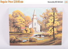 Vintage, Completed, Paint By Numbers, Church In Country, Swans , Oil Painting, 1970s, 70s, 1980s, 80s ~ The Pink Room ~ 161011 by ThePinkRoom