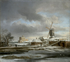 Jacob van Ruisdael ? private collection. Winter Landscape with Windmill and a House in Scaffolding (c. 1665-1680)
