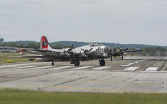 B 17 Flying fortress Yankee lady making a turn after landing in one of their many trips for the day.