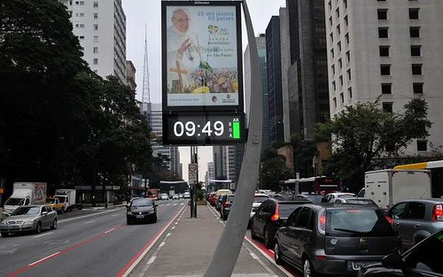 Digital ad signage on Avenida Paulist ciclovia/cycletrack, Sao Paulo