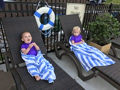 The twins are both done with swimming last night, after a long bike ride