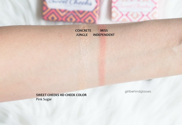 Pink Sugar Sweet Cheeks HD Cheek Color Miss Independent & Concrete Jungle swatches