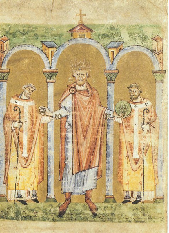German king Henry II and two bishops supporting him