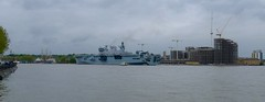 HMS Ocean, anchored in Greenwich, London, ahead of the London 2012 Olympics