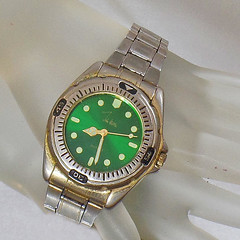 Vintage John Weitz Men's Watch. Green Face Silver Tone Stainless Steel Men's Watch.