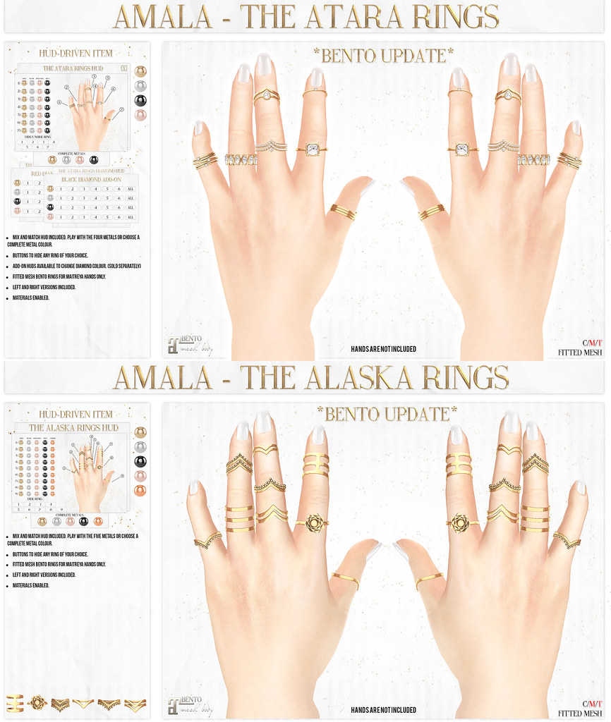 Amala - BENTO RINGS UPDATE - Atara and Alaska - SecondLifeHub.com