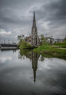 Imageof St Alban's Anglican Church. church copenhagen denmark kastellet cloudy reflection water travel pentax