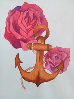 Ancla de madera con rosas