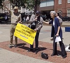 Jill Stein-Green Party candidate for president 2016 speaks at protest against Monsanto and GMO foods 5-20-2017 Boston