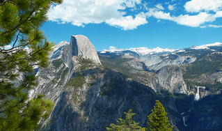 Half Dome Towering Above The Falls