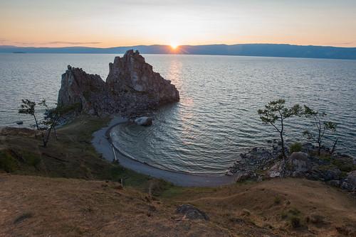 unesco shaman olkhon siberia island unescoworldheritagesite lakebaikal sunset europe russia rocks khuzhir irkutskoblast rus