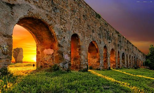 rome roma acqueduct acquedotto sunset sunshine landscape