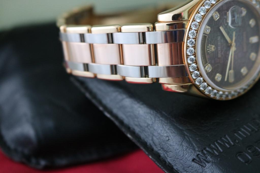 Đồng hồ rolex day date Tridor Peamaster – model 18948 – Vàng 3 màu – Mặt Vi Tính xà cừ