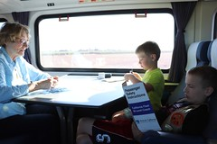 Cards with Grandma and a little light reading on the train