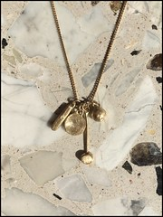 The Private Treasures Necklace. 14K Yellow Gold Pendant Charms On 14K Gold Chain. Unique Handmade Necklace. Recycled Gold. Eco Friendly.